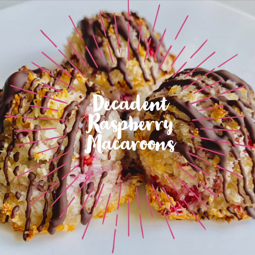 A beautiful photo showcasing the Decadent dark chocolate raspberry macaroons. These macaroons have a dark chocolate drizzle on the top of them with ripe raspberries and creamy coconut inside. More recipes to be found on sprouting-vitality.com #kenzinthekitch #decadentmacaroons #healthyrecipes #enjoyyourfood