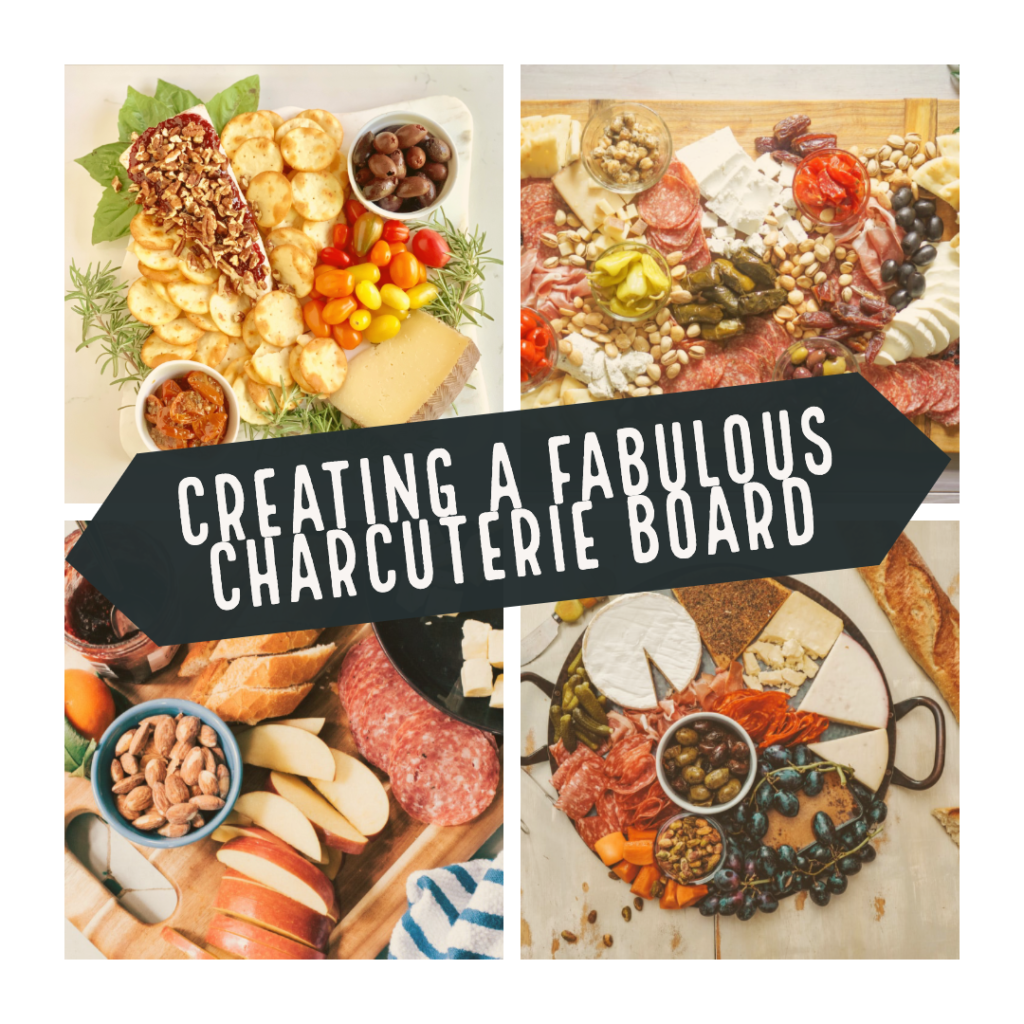 Beautiful Charcuterie Board collage showcasing many different ways to build a board. Sprouting-Vitality is teaching you how to create, arrange and consume a charcuterie board. How to envision the final product and how to choose the complexity of the board. For more recipes and hosting help follow www.sprouting-vitality.com #sproutingvitalityrecipes #creatingacharcuterieboard #healthyrecipes #hostinghealthy