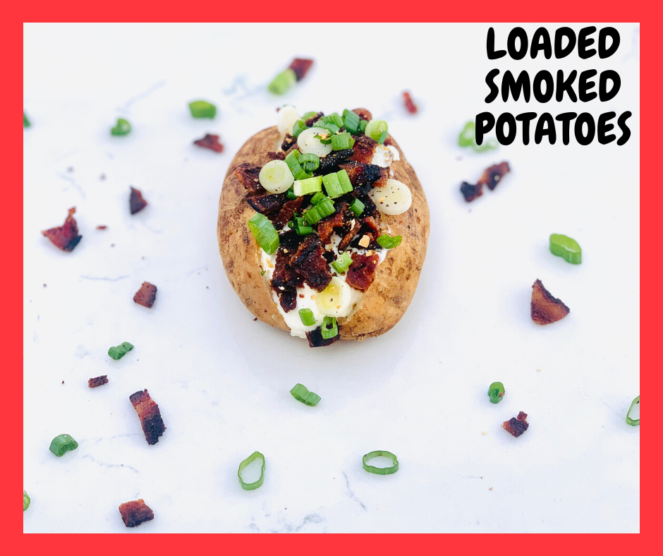 Loaded Smoked Potatoes. These potatoes have a crispy skin and a perfectly cooked flesh. Ready for you to stuff it to the brim with your favorite toppings. #smokedrecipes #kenzinthekitch #realfood #sproutingvitality