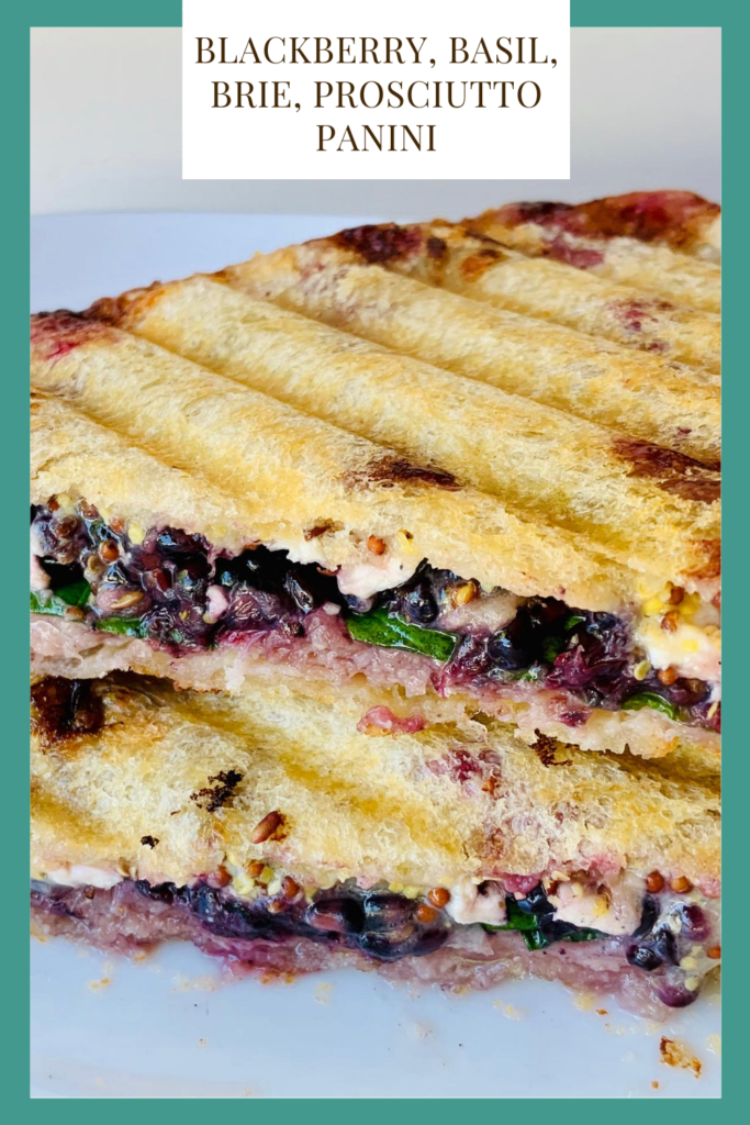 This blackberry, basil, brie, prosciutto panini will knock your socks off with the insane flavor it packs in each bite. Grab the recipe now! #kenzinthekitch #panini #lunch #dinner #recipe #sproutingvitality