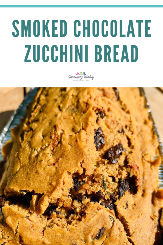 Smoked Browned Butter Chocolate Zucchini Bread that will knock your socks off. So chocked full of savory and sweet in every bite. #kenzinthekitch #sproutingvitality #smoked #recipes #delicious