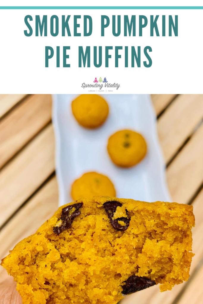 Smoked, dark chocolate, pumpkin pie muffins. Decadent deliciousness in every single bite. Grab the recipe here. #kenzinthekitch #sproutingvitality #smoked #muffins