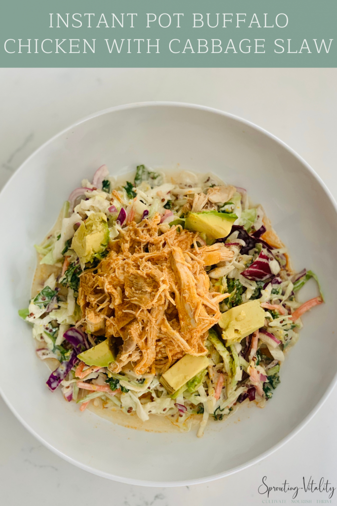 Shredded Instapot Buffalo Chicken & Cabbage Slaw! The most flavorful bowl of food you will ever try! Grab the ingredients and see for yourself! #lunch #dinner #chicken #instantpot #recipe