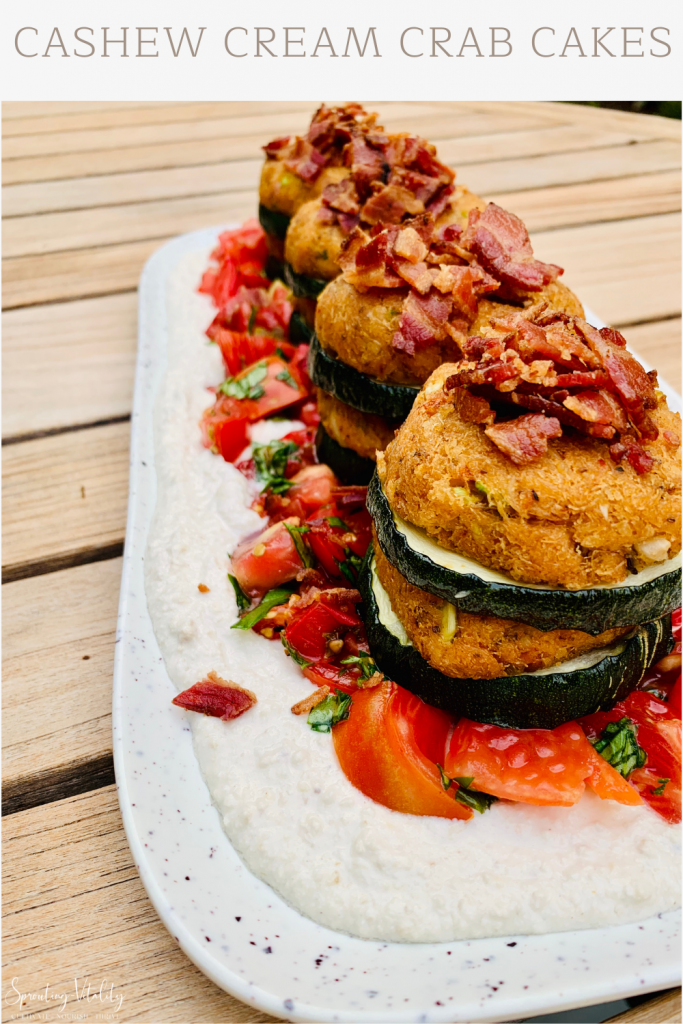 Insanely Delicious Cashew Cream Crab Cakes. This recipe is super easy to make and even easier to eat. Grab the ingredients now! #kenzinthekitch #sproutingvitality #recipe