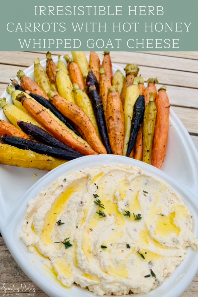 Irresistible Herb Carrots with Hot Honey Goat Cheese. The perfect combo of creamy, crunchy, sweet & spicy flavors in every bite! Grab the recipe now! #sproutingvitality #recipe #appetizer
