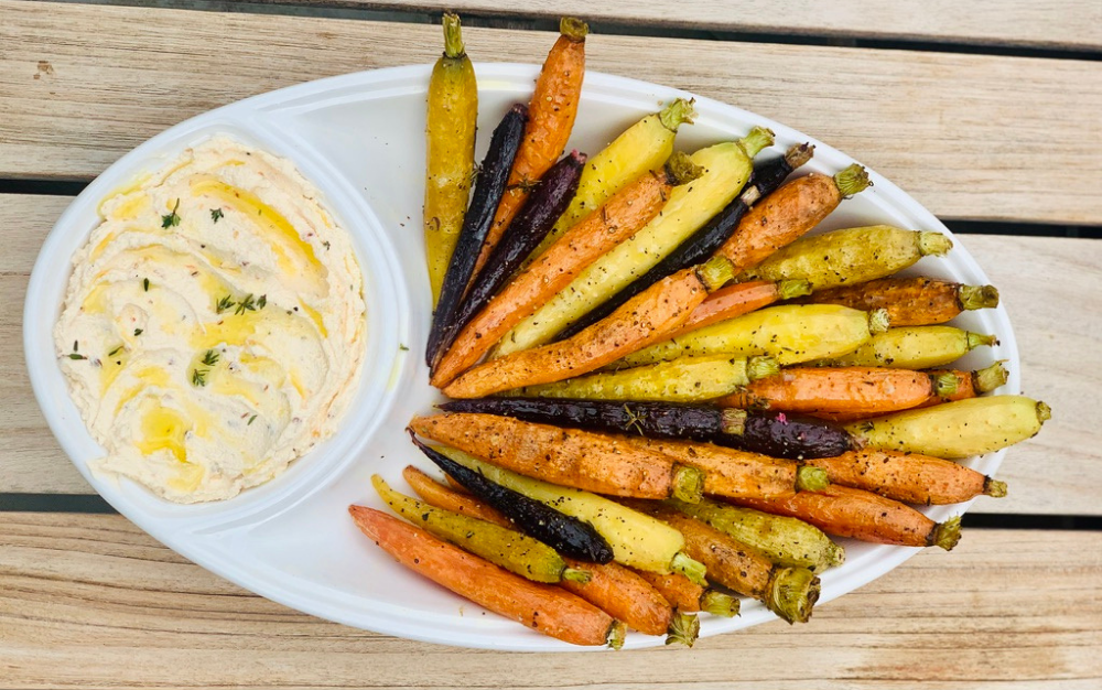 Irresistible Herb Carrots with Hot Honey Goat Cheese