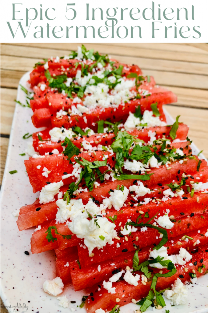 Epic 5 Ingredient Watermelon Fries are the bee's knees! Refreshing watermelon paired with feta, cilantro & sesame seeds. Summer must have! #kenzinthekitch #recipe #summer