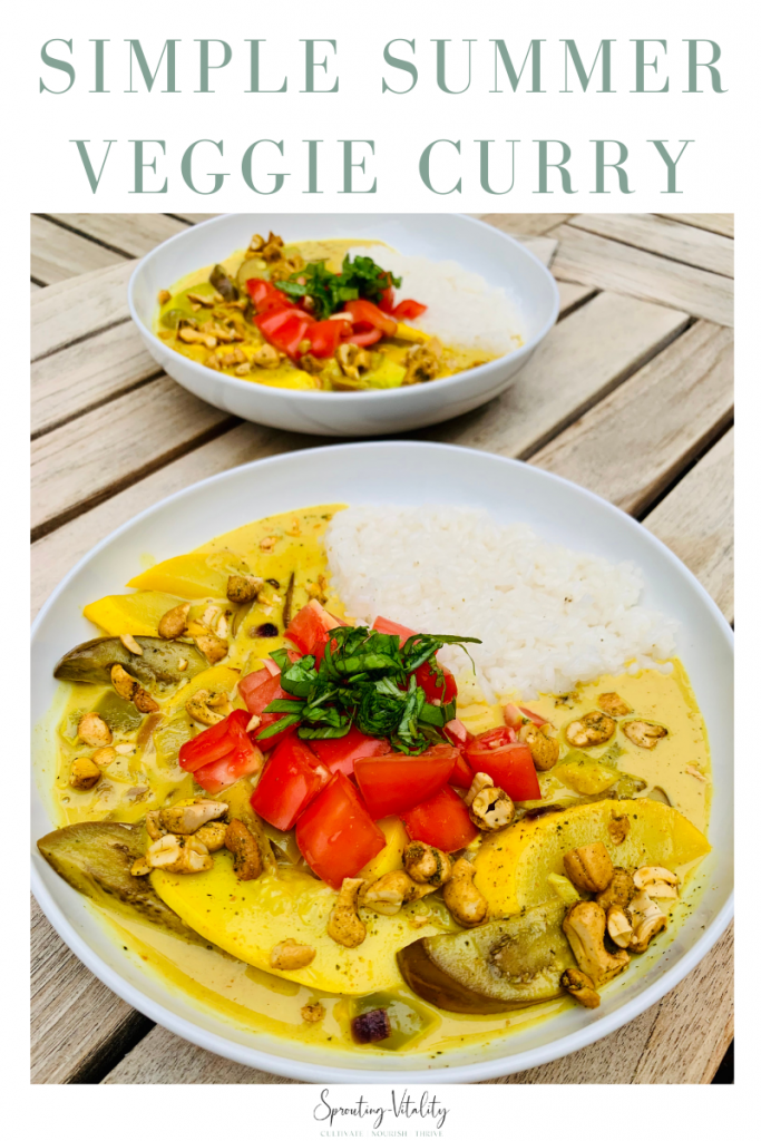 Simple Summer Vegetable Curry, packed with perfectly picked garden veggies, creamy coconut milk, and curry to create insane bites of flavor! #curry #simple #recipe
