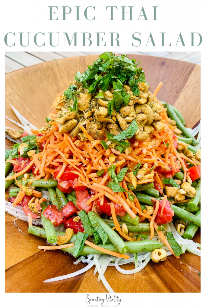This Epic Thai Cucumber Summer Salad will blow your tastebuds away! The flavor combo of ingredients is everything you could want in a bite. #sproutingvitality #recipe #thai